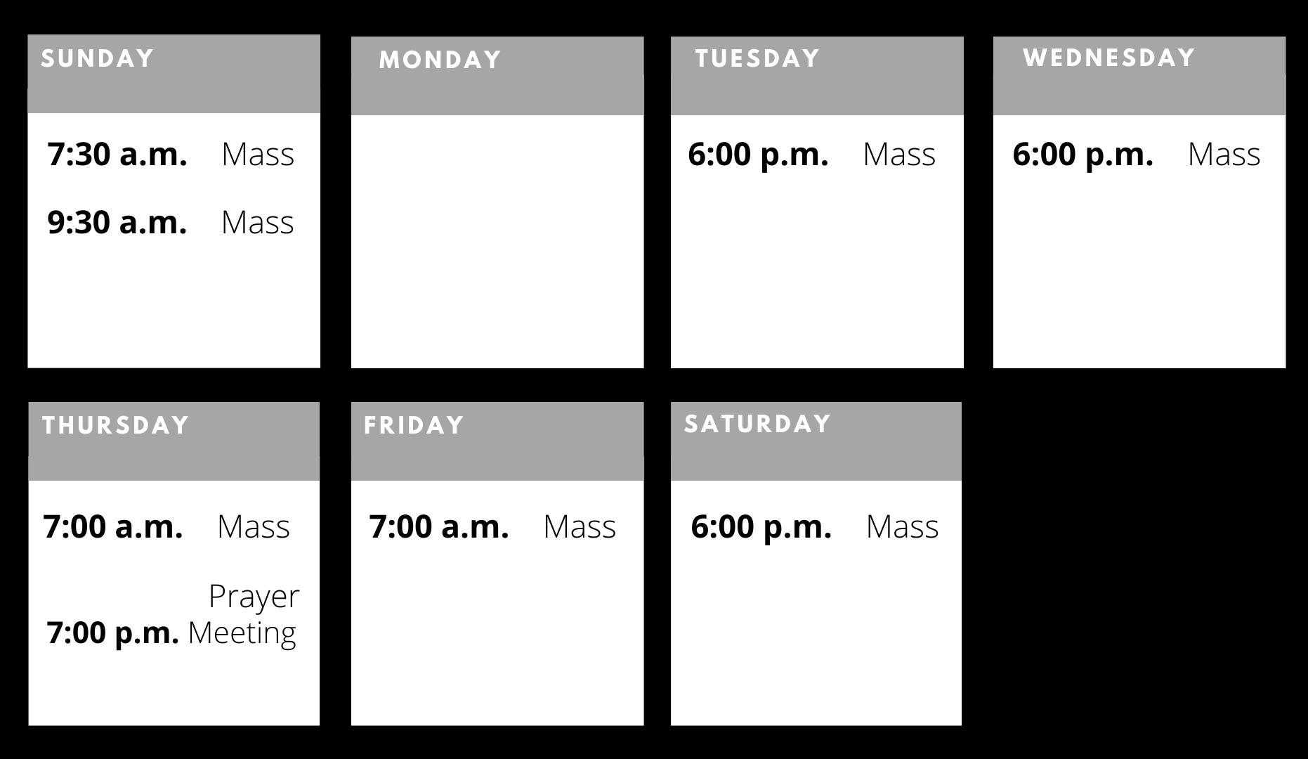Weekly Livestream Schedule